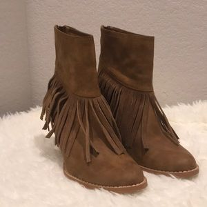 Very Volatile brown leather heeled booties